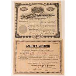 Sierra Madre Development Co Stock Certificate Plus Trustee's Certificate  (118597)
