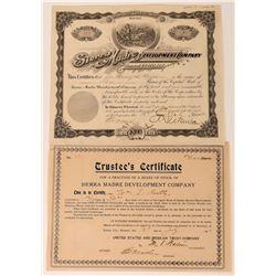 Sierra Madre Development Co Stock Certificate Plus Trustee's Certificate  (118597)