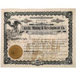 Arctic Mining & Development Stock Certificate  (118644)