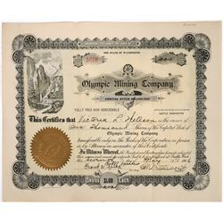 Olympic Mining Co Stock Certificate, Alaska- 1906  (118642)