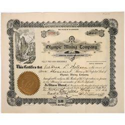Olympic Mining Co Stock Certificate, Alaska- 1906  (118642)