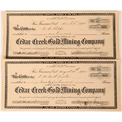 Cedar Creek Gold Mining Co Stock Certificates (2), El Dorado County, Cal.  (111808)