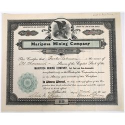 Mariposa Mining Co Stock Signed by Amos P. Brown  (118617)