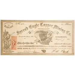 Spread Eagle Copper Mining Co. Stock Certificate, Saginaw District, 1863  (62923)