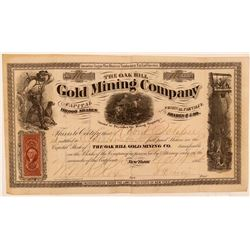 Oak Hill Gold Mining Company Stock Certificate  (107709)