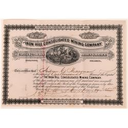 Iron Hill Consolidated Mining Co. Stock, Leadville, CO. 1883  (118612)