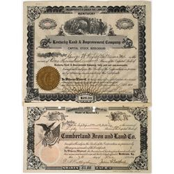 Kentucky Stock Certificates Lot of 2  (118633)