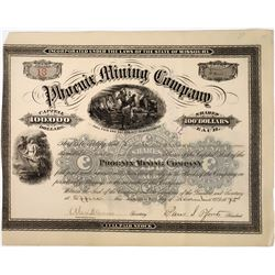 Phoenix Mining Company Stock, Missouri, 1875  (118634)