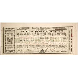 Mills, Post & White Consolidated Silver Mining Company Certificate  (89955)