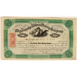 Big Smoky Silver Mining Company - early 1860's Reese River stock certificate  (119404)