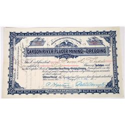 Carson River Placer Mining & Dredging Stock, 1898  (118648)