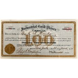 Industrial Gold Placer Co Stock Certificate, New Mexico, 1898  (118600)