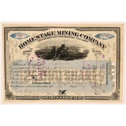 Homestake Mining Co. Stock, South Dakota, Signed by Mining Giant Lloyd Tevis  (111963)