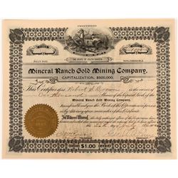 Mineral Ranch Gold Mining Stock Certificate  (118591)