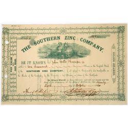 Southern Zinc Company Stock Certificate, 1860  (118636)