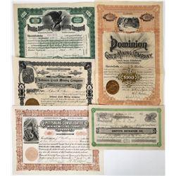 Dealer's Lot of Assorted Mining Stocks (6)  (118651)