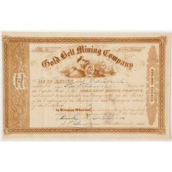 Gold Belt Mining Company Gold Rush Era Stock Certificate  (56952)