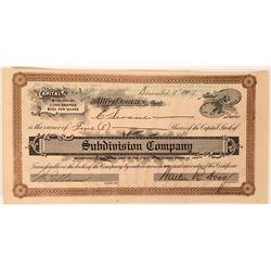 Subdivision Company Stock Certificate  (119428)