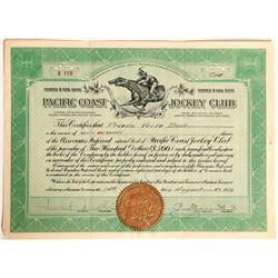 Pacific Coast Jockey Club Stock Certificate, Horse Racing, San Francisco  (111755)