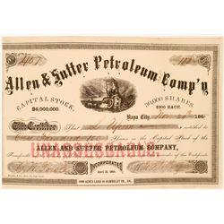 Allen & Sutter Petroleum Comp's stock - very early California Oil Stock  (119398)