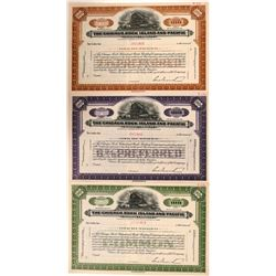 Chicago, Rock Island & Pacific Railway Co SPECIMEN Certificates, (3)  (111148)