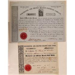 Dorchester & Milton Branch Rail Road Co 1848 Stock and 1858 Bond  (111277)