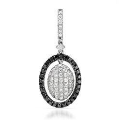 18k White Gold 0.51CTW Diamond and Black Diamonds Pendant, (SI1-SI2/G-H)