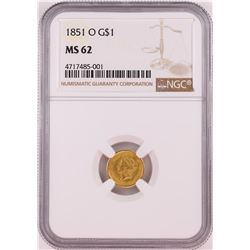 1851-O T-1 $1 Gold Dollar Coin NGC MS62