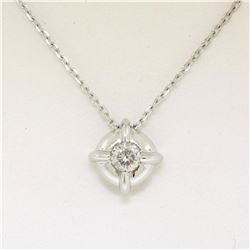 14kt White Gold 0.20 ctw Diamond Solitaire Pendant Necklace