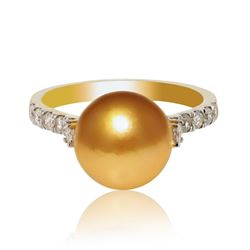 10.0mm to 10.0mm Dark Golden South Sea Cultured Pearls and 0.65 ctw Diamond 18K