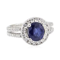 2.27 ctw Sapphire and Diamond Ring - 18KT White Gold