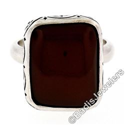 Vintage Sterling Silver Cushion Cabochon Carnelian Solitaire Ring