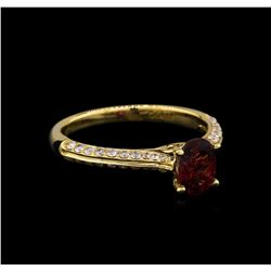 14KT Yellow Gold 0.85 ctw Rubellite and Diamond Ring