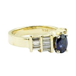 1.36 ctw Oval Brilliant Blue Sapphire And Diamond Ring - 14KT Yellow Gold