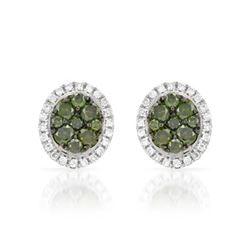 14k White Gold 0.47CTW Diamond and Green Dia Earrings, (SI/H)