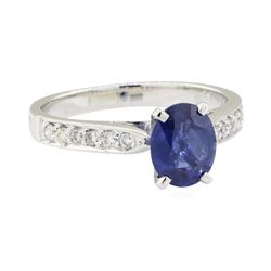 1.56 ctw Sapphire and Diamond Ring - 18KT White Gold