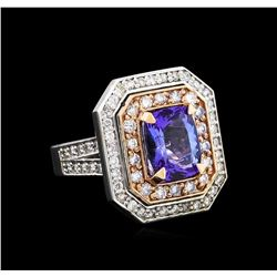 14KT Rose and White Gold 3.10 ctw Tanzanite and Diamond Ring