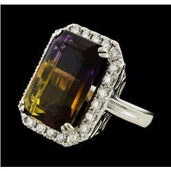 19.23 ctw Ametrine Quartz and Diamond Ring - 14KT White Gold