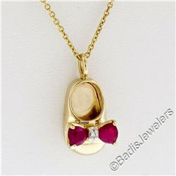 14kt Yellow Gold 0.33 ctw Ruby and Diamond Bow Baby Girl Shoe Pendant Necklace