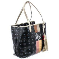 MCM Black Visetos Coated Canvas & Leather Lion Tote Bag