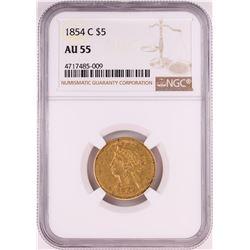 1854-C $5 Liberty Head Half Eagle Gold Coin NGC AU55