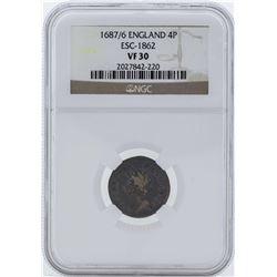 1687/6 England 4 Pence Coin NGC VF30