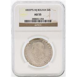 1855PTS MJ Bolivia 4 Sol Coin NGC AU55