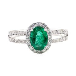1.21 ctw Emerald and Diamond Ring - 18KT White Gold