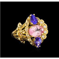 4.20 ctw Multi Gemstone and Diamond Ring - 14KT Yellow Gold