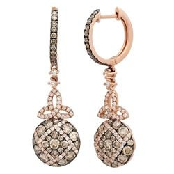 14k Rose Gold 1.65CTW Diamond and Brown Diamonds Earrings, (VS-SI1/F-G)