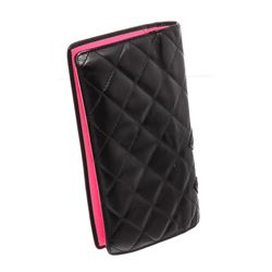 Chanel Black Quilted Calfskin Leather Cambon Yen Wallet