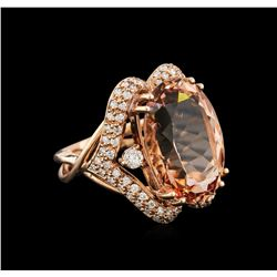 16.04 ctw Morganite and Diamond Ring - 14KT Rose Gold