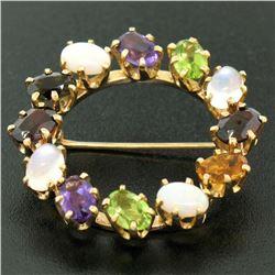 14k Yellow Gold 5.18 ctw Wreath Brooch w/ Amethyst Garnet Moonstone Peridot Opal