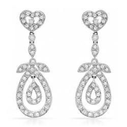 18k White Gold 0.78CTW Diamond Earrings, (SI3-I1/H-I)